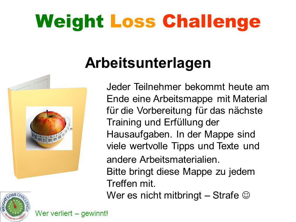 Weight Loss Challenge Arbeitsunterlagen