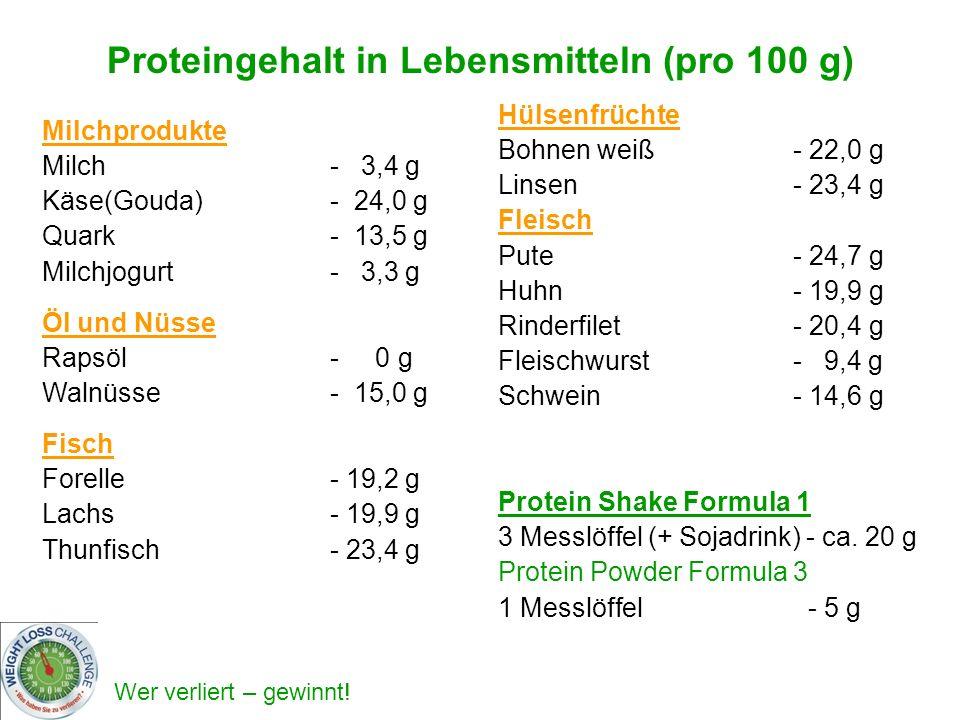 Proteingehalt in Lebensmitteln (pro 100 g)