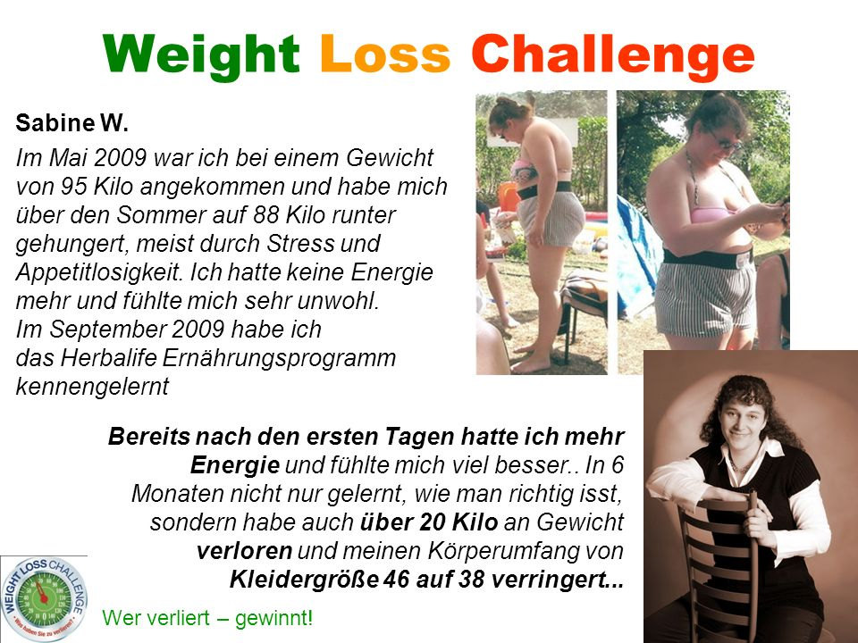 Weight Loss Challenge Sabine W.