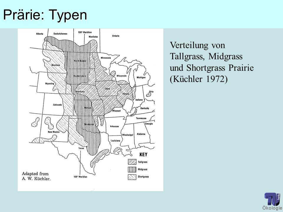Prärie: Typen Verteilung von Tallgrass, Midgrass und Shortgrass Prairie (Küchler 1972)