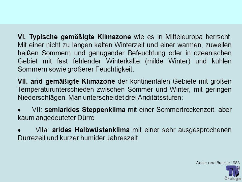 VI. Typische gemäßigte Klimazone wie es in Mitteleuropa herrscht