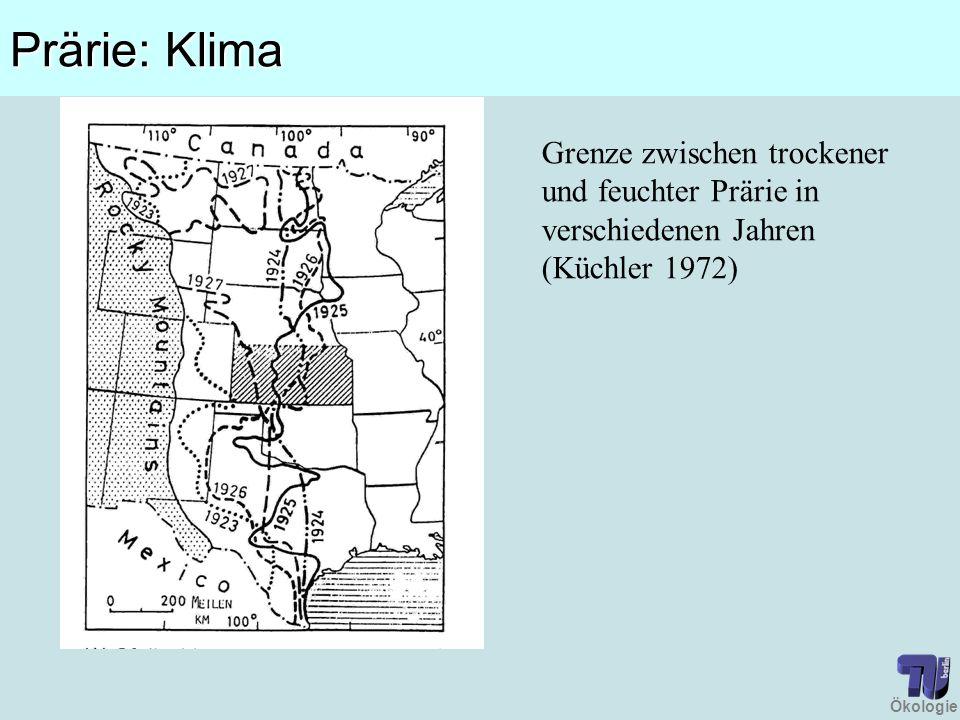 Prärie: Klima Grenze zwischen trockener und feuchter Prärie in verschiedenen Jahren (Küchler 1972)