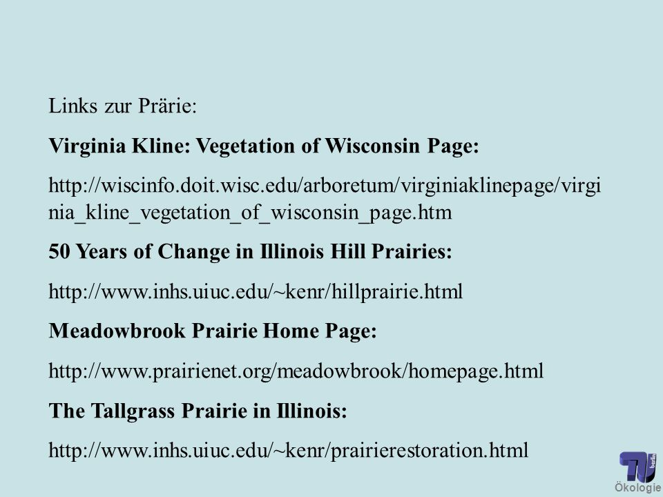 Links zur Prärie: Virginia Kline: Vegetation of Wisconsin Page: