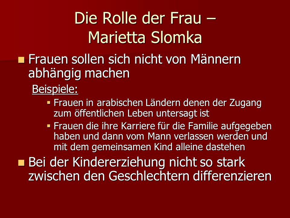 Die Rolle der Frau – Marietta Slomka