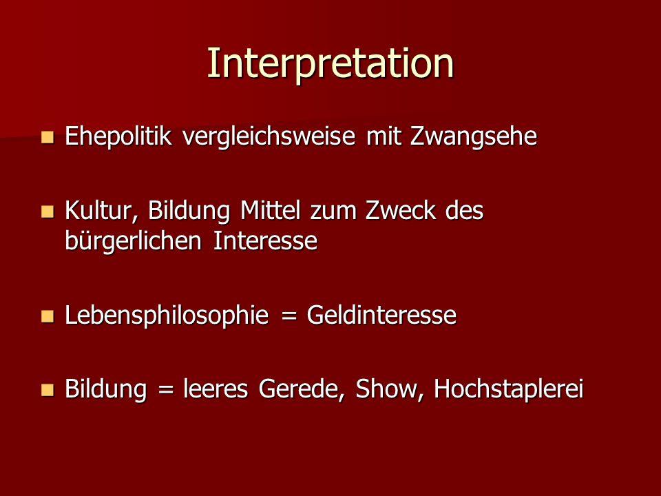 Interpretation Ehepolitik vergleichsweise mit Zwangsehe