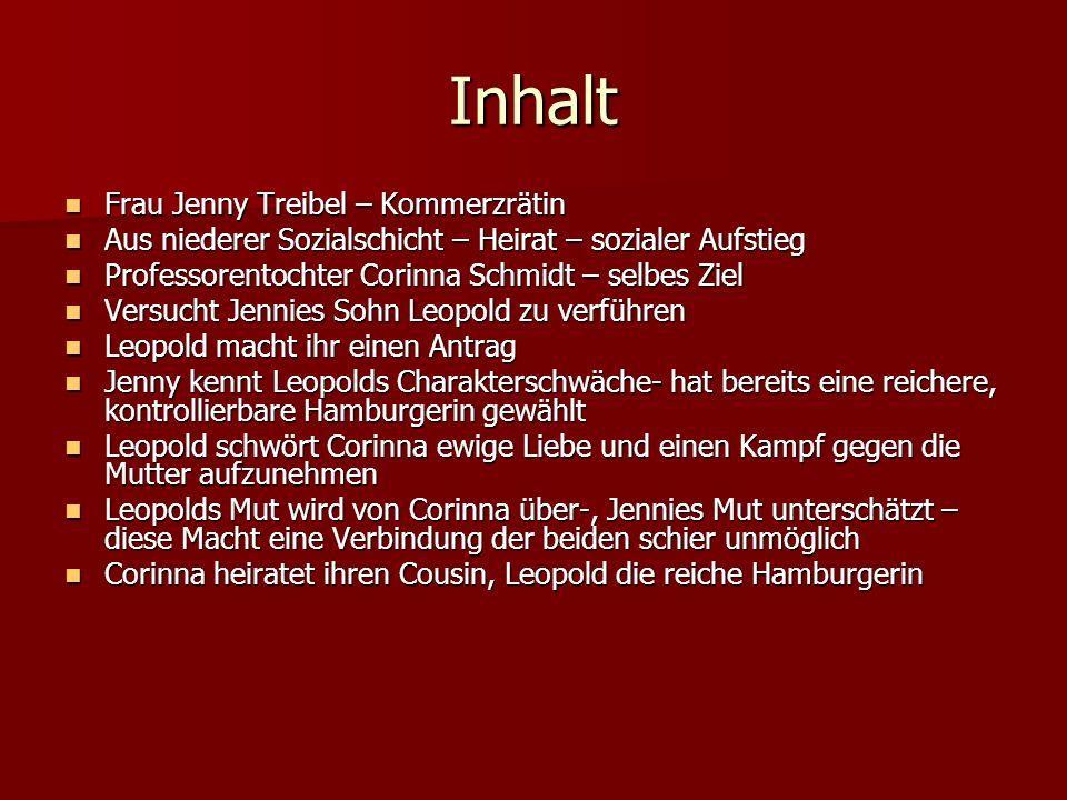 Inhalt Frau Jenny Treibel – Kommerzrätin