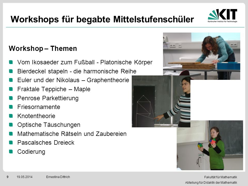 Workshops für begabte Mittelstufenschüler