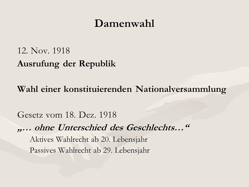 Damenwahl 12. Nov. 1918 Ausrufung der Republik