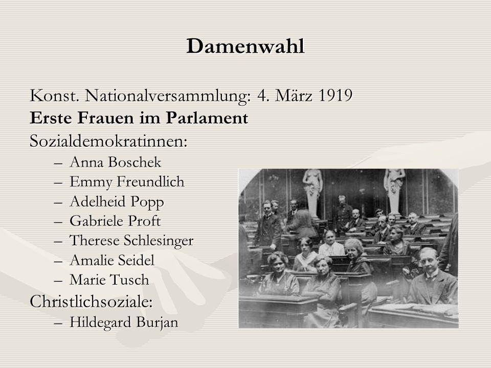 Damenwahl Konst. Nationalversammlung: 4. März 1919