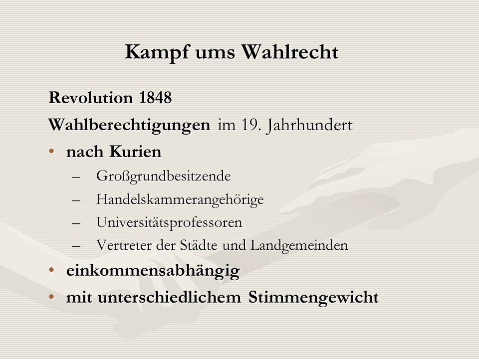 Kampf ums Wahlrecht Revolution 1848