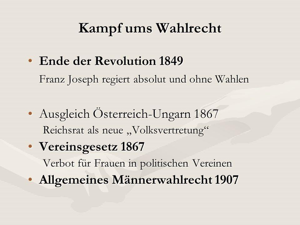 Kampf ums Wahlrecht Ende der Revolution 1849