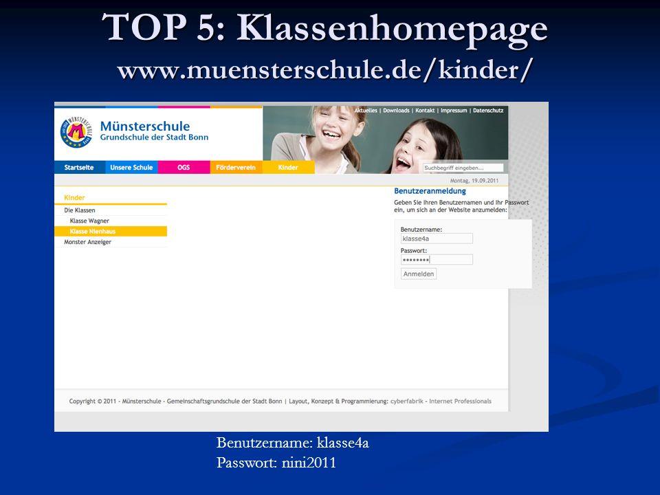 TOP 5: Klassenhomepage www.muensterschule.de/kinder/
