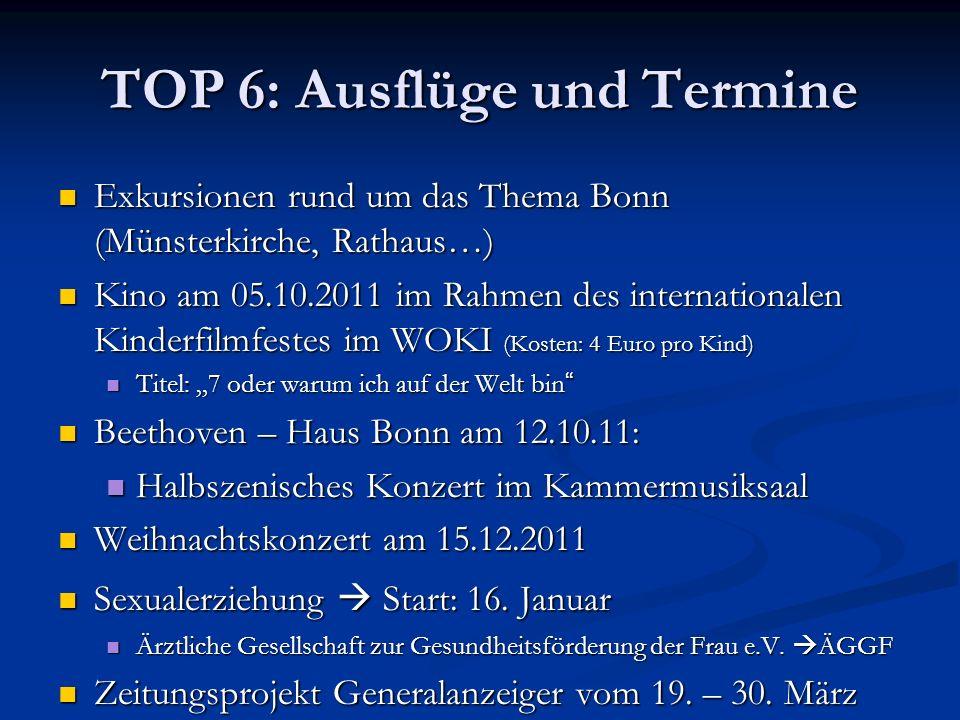 TOP 6: Ausflüge und Termine