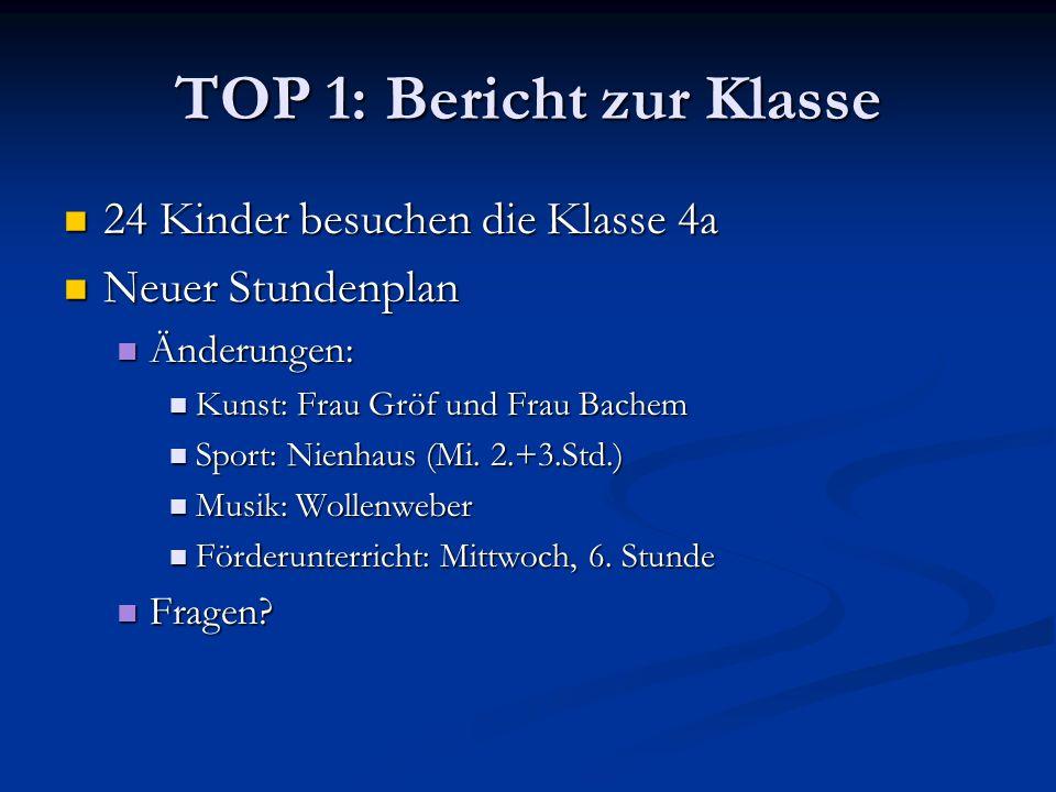 TOP 1: Bericht zur Klasse