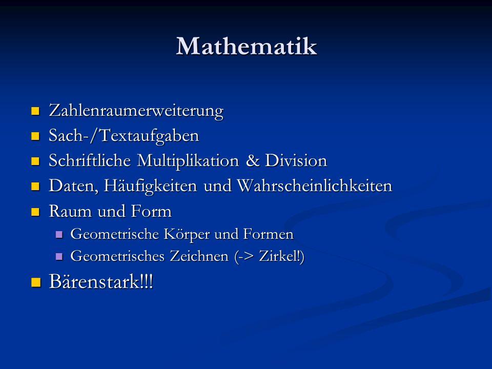 Mathematik Bärenstark!!! Zahlenraumerweiterung Sach-/Textaufgaben