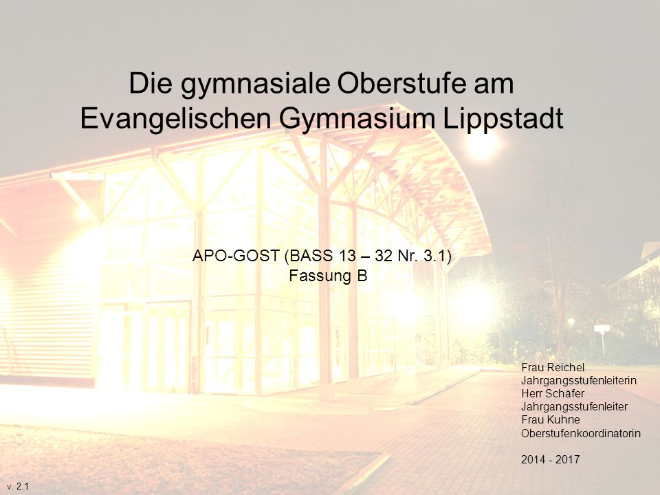 Die gymnasiale Oberstufe am Evangelischen Gymnasium Lippstadt