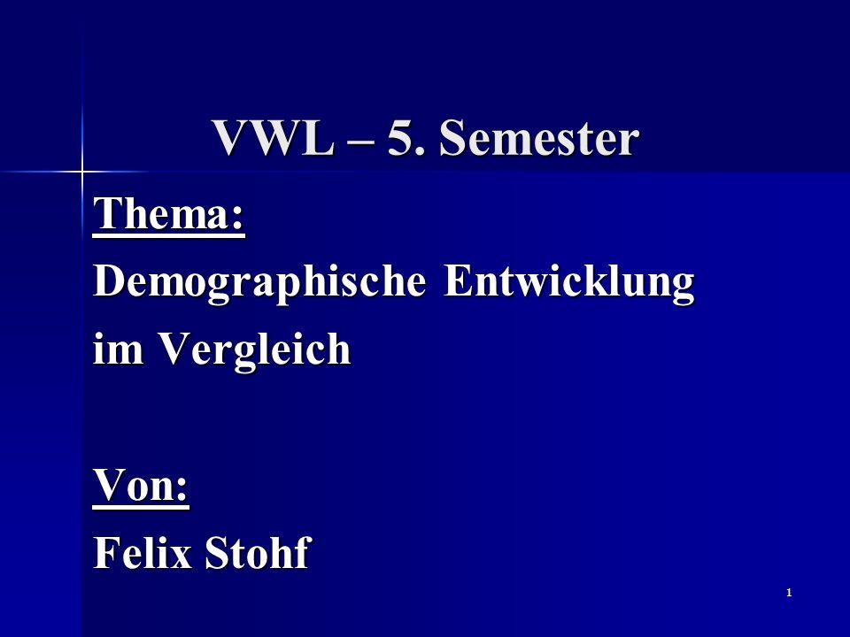 Thema: Demographische Entwicklung im Vergleich Von: Felix Stohf