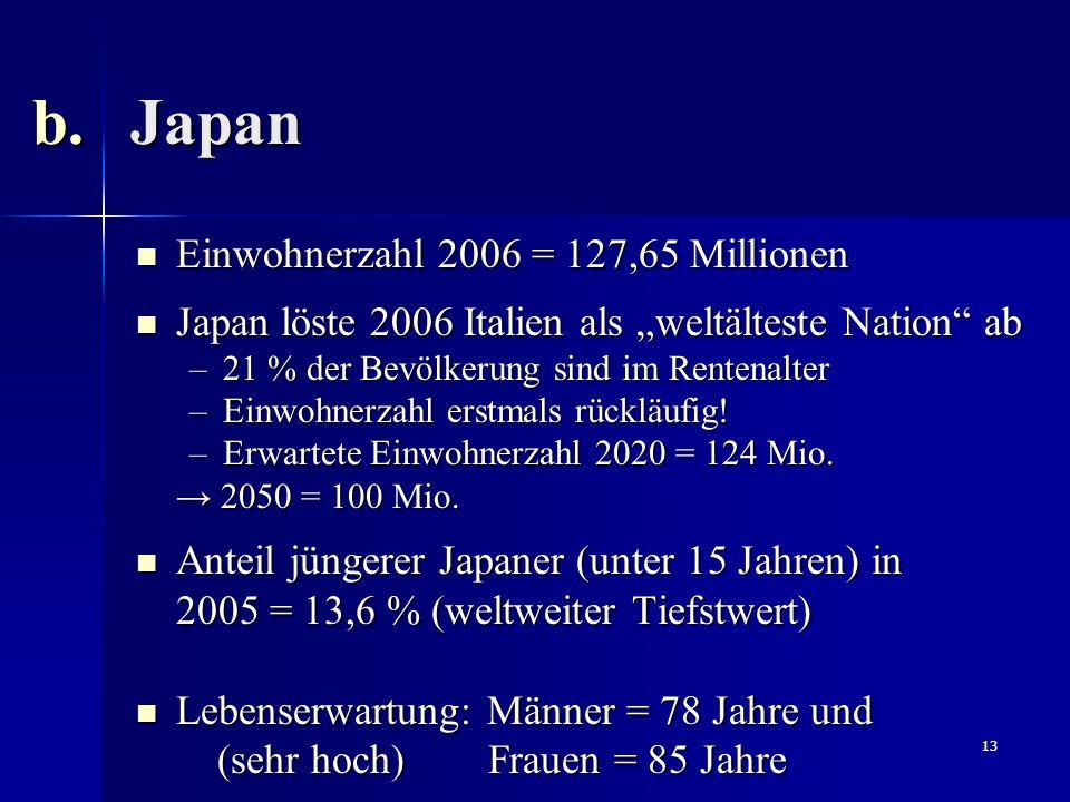 Japan Einwohnerzahl 2006 = 127,65 Millionen