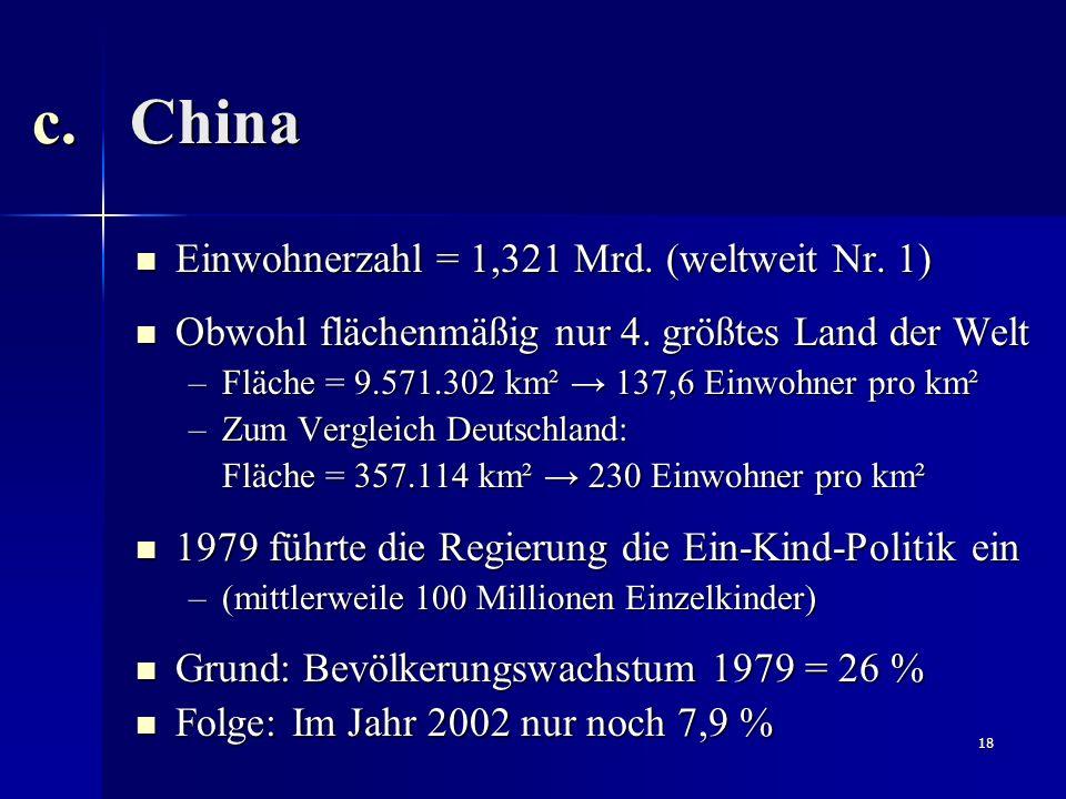 China Einwohnerzahl = 1,321 Mrd. (weltweit Nr. 1)