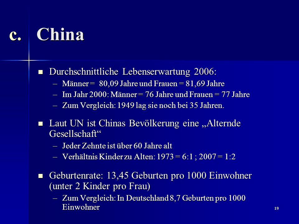 China Durchschnittliche Lebenserwartung 2006: