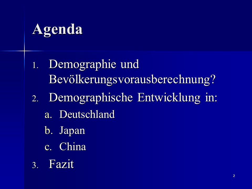 Agenda Demographie und Bevölkerungsvorausberechnung
