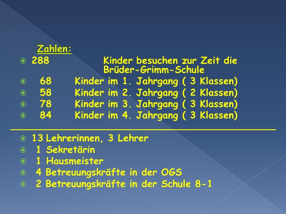 Zahlen: 288 Kinder besuchen zur Zeit die Brüder-Grimm-Schule. 68 Kinder im 1. Jahrgang ( 3 Klassen)