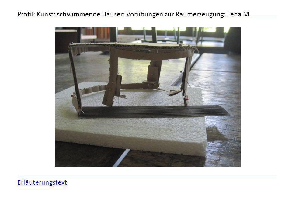 Profil: Kunst: schwimmende Häuser: Vorübungen zur Raumerzeugung: Lena M.
