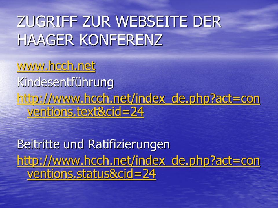 ZUGRIFF ZUR WEBSEITE DER HAAGER KONFERENZ