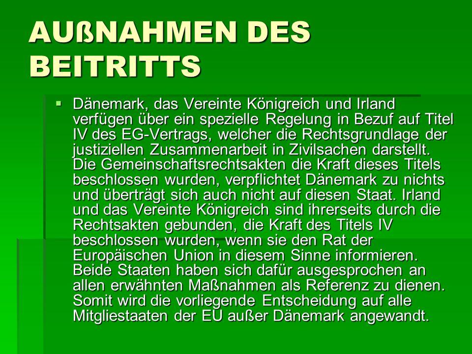 AUßNAHMEN DES BEITRITTS