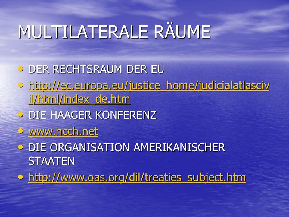 MULTILATERALE RÄUME DER RECHTSRAUM DER EU