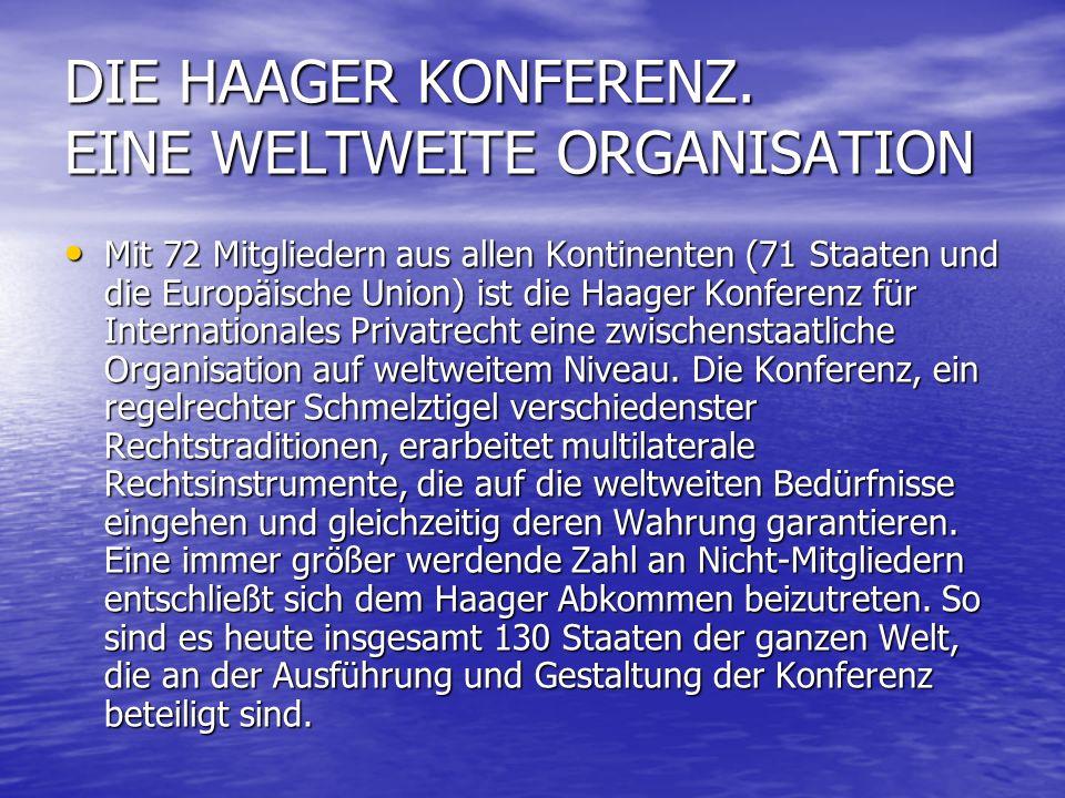 DIE HAAGER KONFERENZ. EINE WELTWEITE ORGANISATION
