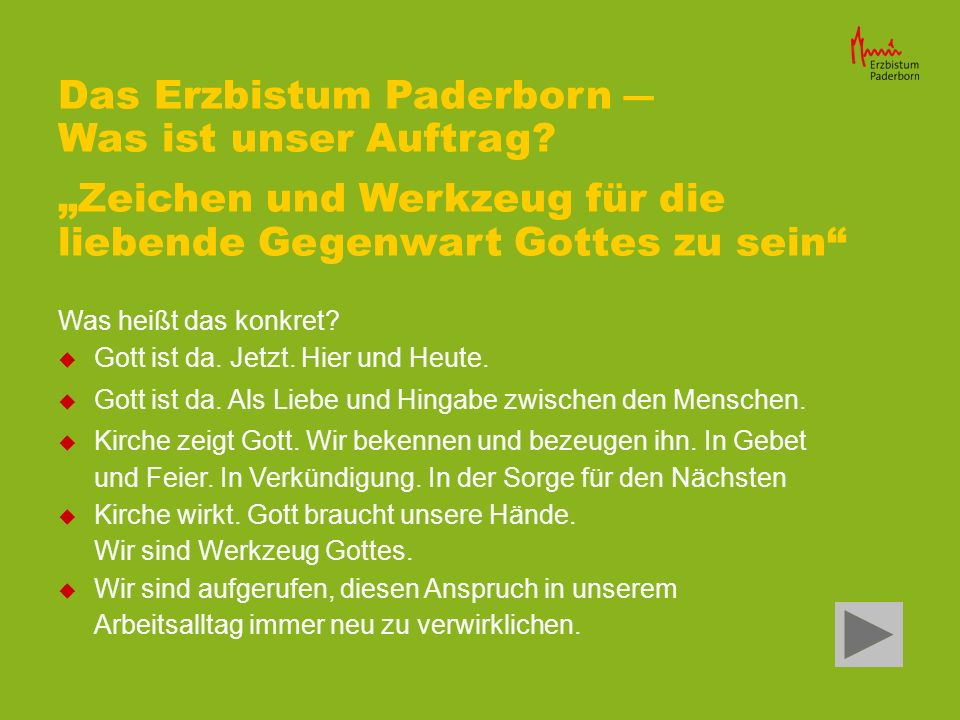 Das Erzbistum Paderborn ― Was ist unser Auftrag