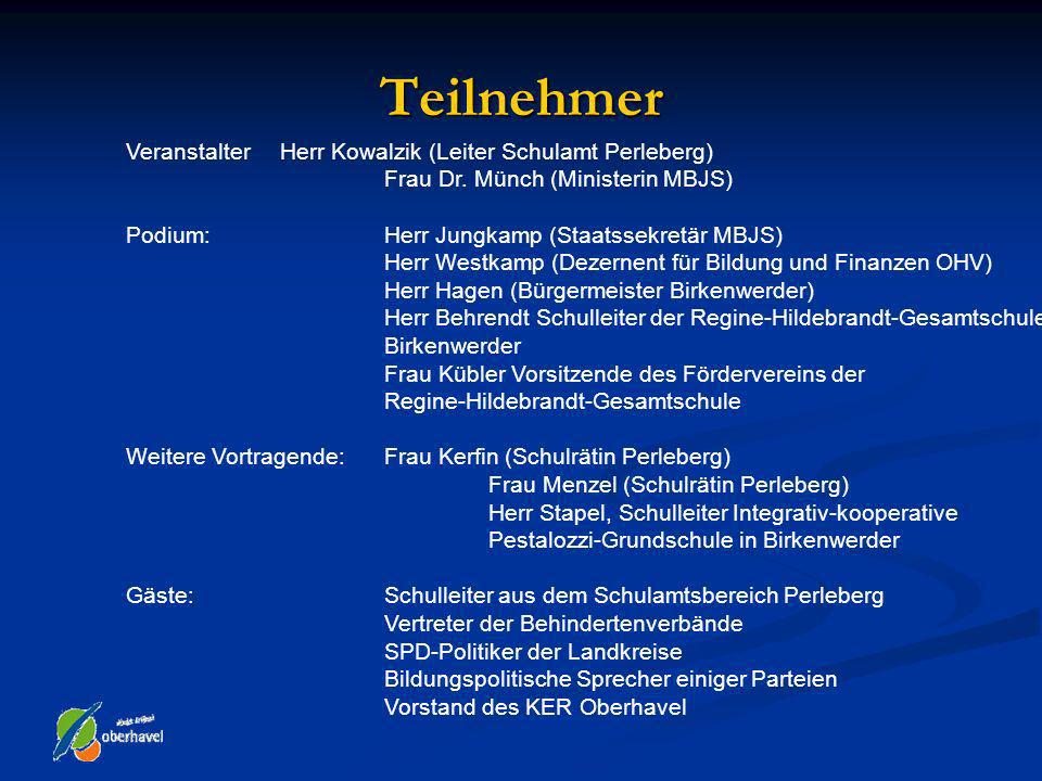 Teilnehmer Veranstalter Herr Kowalzik (Leiter Schulamt Perleberg)