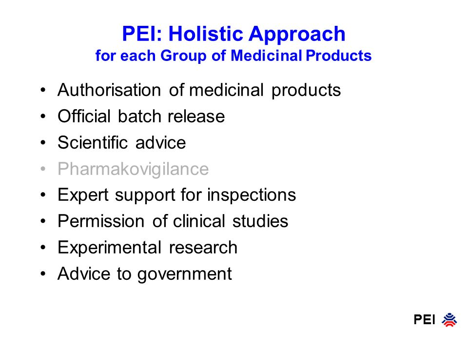 PEI: Holistic Approach for each Group of Medicinal Products