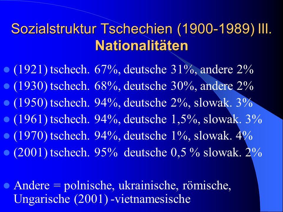 Sozialstruktur Tschechien (1900-1989) III. Nationalitäten