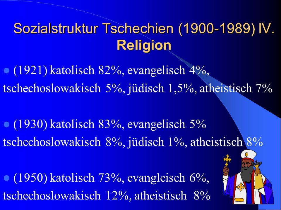 Sozialstruktur Tschechien (1900-1989) IV. Religion