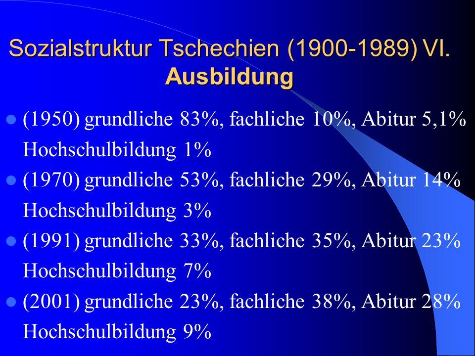 Sozialstruktur Tschechien (1900-1989) VI. Ausbildung