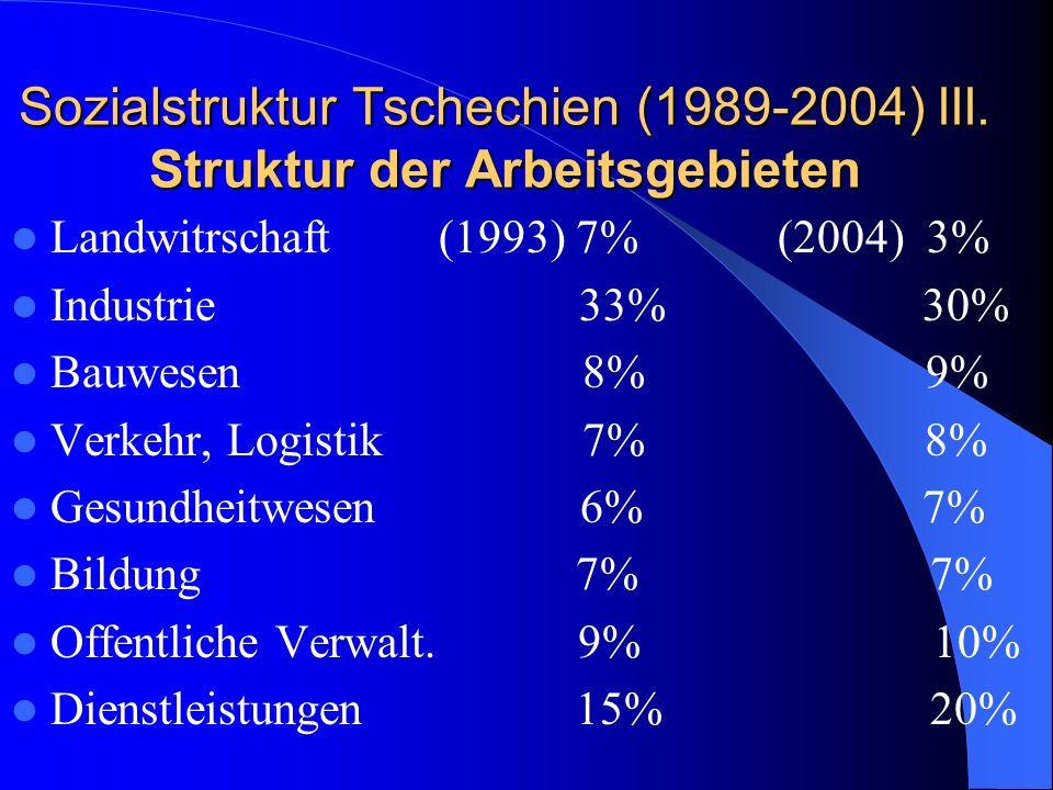 Sozialstruktur Tschechien (1989-2004) III. Struktur der Arbeitsgebieten