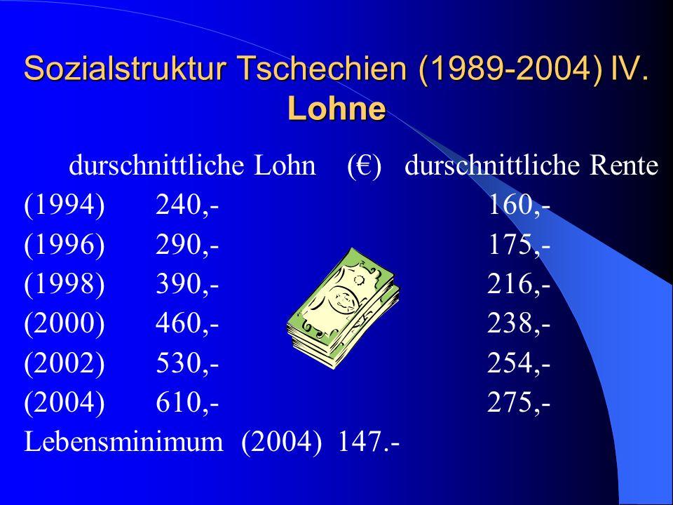 Sozialstruktur Tschechien (1989-2004) IV. Lohne