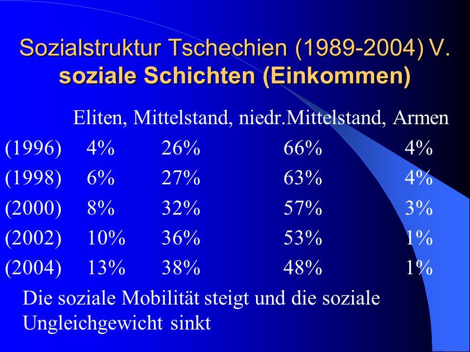 Sozialstruktur Tschechien (1989-2004) V. soziale Schichten (Einkommen)