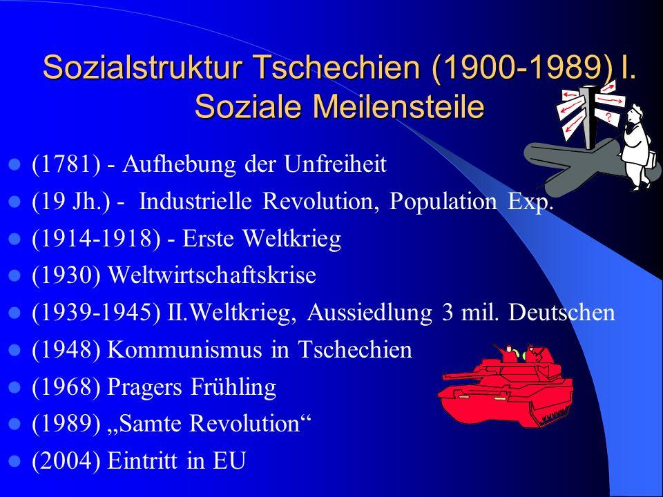 Sozialstruktur Tschechien (1900-1989) I. Soziale Meilensteile