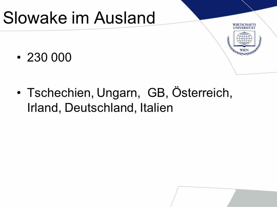 Slowake im Ausland 230 000 Tschechien, Ungarn, GB, Österreich, Irland, Deutschland, Italien