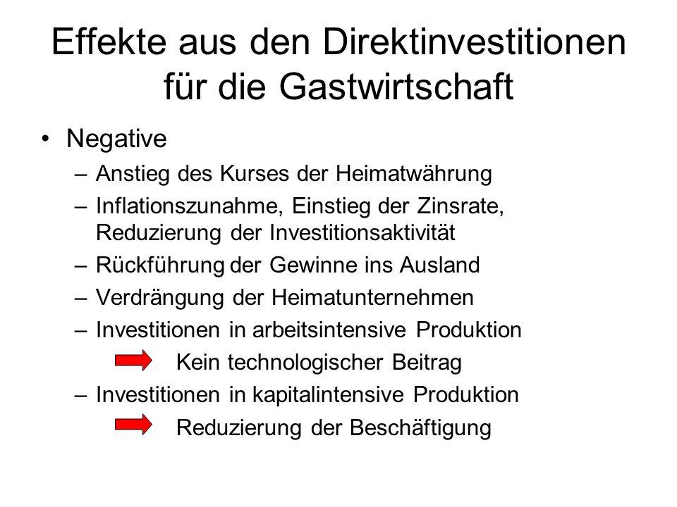 Effekte aus den Direktinvestitionen für die Gastwirtschaft