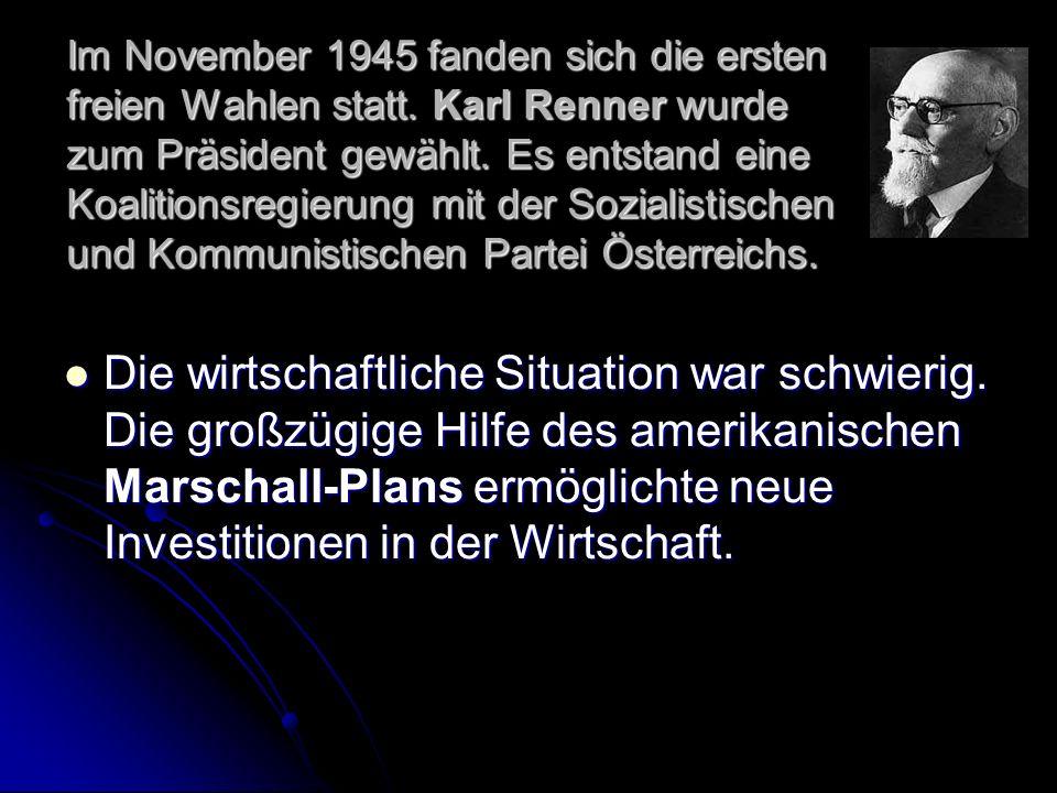 Im November 1945 fanden sich die ersten freien Wahlen statt