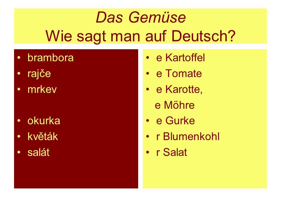 Das Gemüse Wie sagt man auf Deutsch