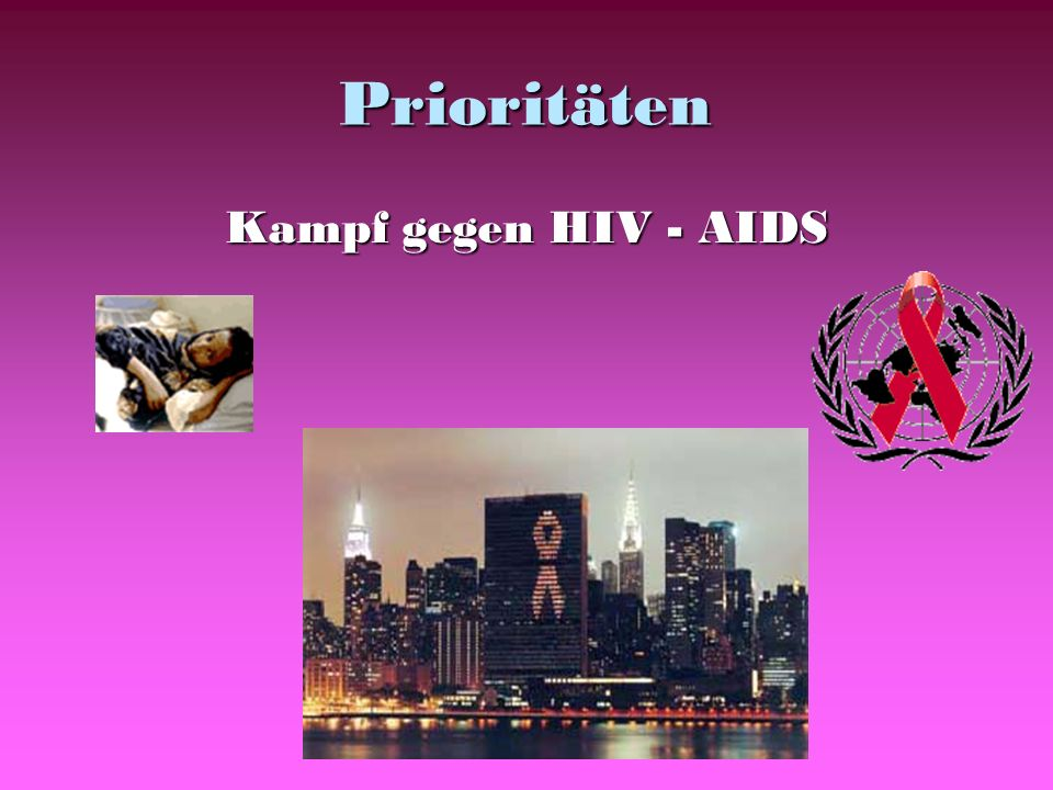 Prioritäten Kampf gegen HIV - AIDS