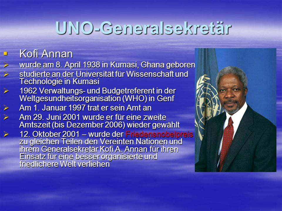 UNO-Generalsekretär Kofi Annan