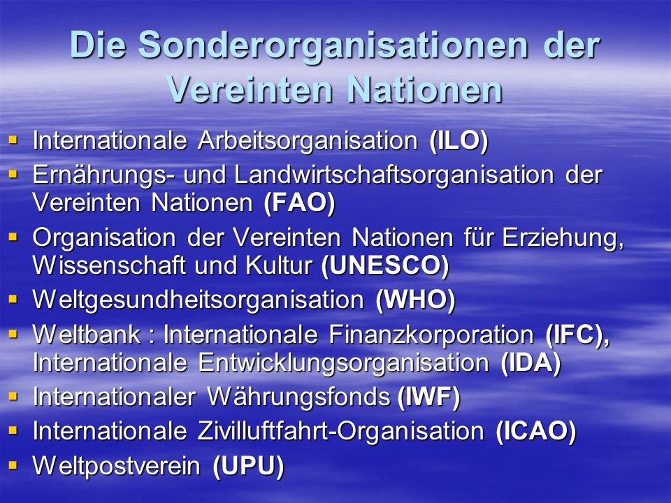 organisation der vereinigten nationen