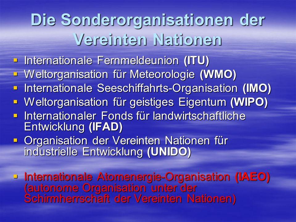 Die Sonderorganisationen der Vereinten Nationen