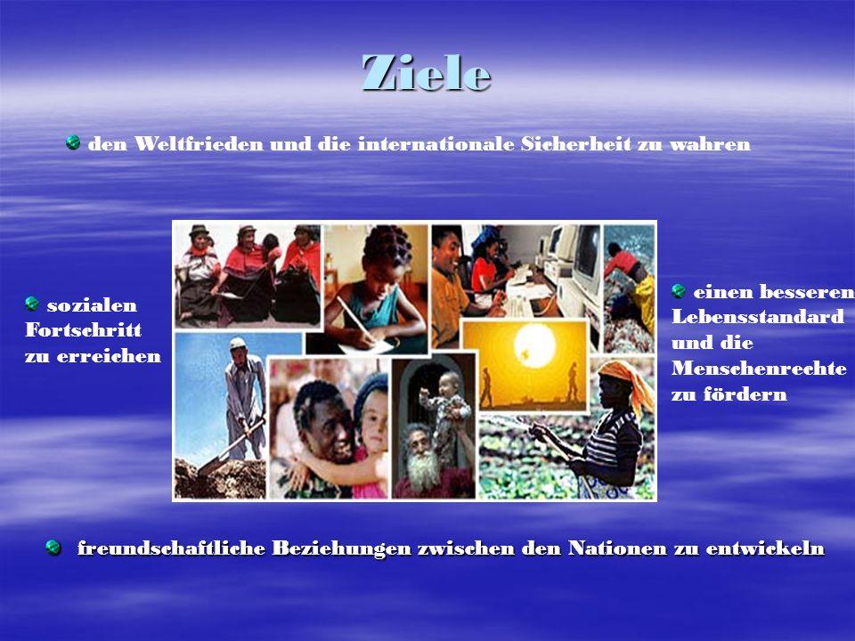 Ziele den Weltfrieden und die internationale Sicherheit zu wahren